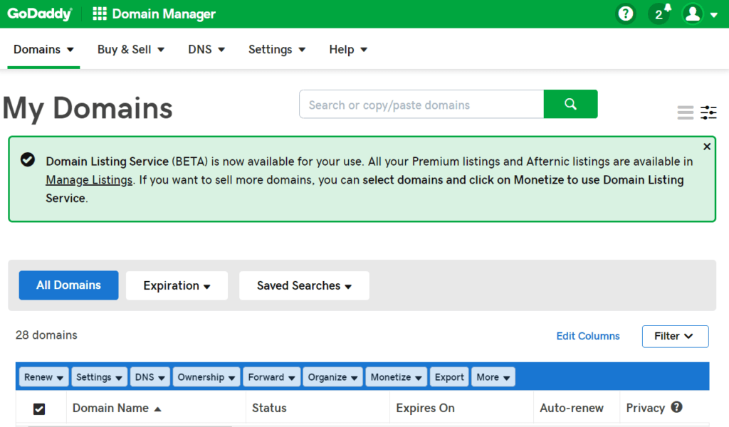GoDaddy Domain Manager